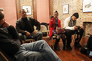 l to r: Jamel Shabazz, Delphine Faunwdu-Buford and Akintola Haniff at Artist talk of ' Shoot-Out: Lonely Crusade..An Homage to Jamel Shabazz ' held at The George and Leah McKenna African American Museum of Art on December 12, 2008 in New Orleans, Louisana