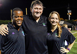 12 July 2016. New Orleans, Louisiana.<br /> NPSL Soccer, Pan American Stadium.<br /> L/R; Thando Ngwane, Head coach Kenny Farrell of the New Orleans Jesters and Margaret Ngwane. Jesters drew 1-1 at full time, going on to lose the penalty shoot out.<br /> Photo; Charlie Varley/varleypix.com