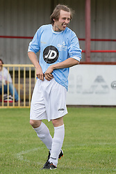 © Licensed to London News Pictures . 02/08/2015 . Droylsden Football Club , Manchester , UK . ELLIOTT  TITTENSOR warming up . Celebrity football match in aid of Once Upon a Smile and Debra , featuring teams of soap stars . Photo credit : Joel Goodman/LNP