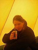 Having a hot drink in the tent