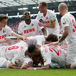 COLOGNE, May 21, 2017  Players of 1. FC Koeln celebrate after scoring during the Bundesliga match between 1. FC Koeln and FSV Mainz 05 in Cologne, Germany, May 20, 2017. Koeln won 2-0. (Credit Image: © Ulrich Hufnagel/Xinhua via ZUMA Wire)