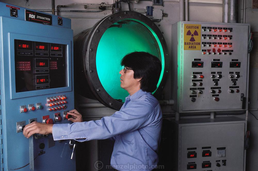 Physics: Electron beam accelerator operator at RayChem Corp. Uriel Lopez, beam operator. MODEL RELEASED