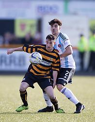 Alloa Athletic's Kevin Cawley and Hearts Callum Paterson.<br /> Alloa Athletic 0 v 1 Hearts, Scottish Championship played at Recreation Park, Alloa.
