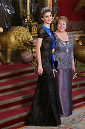 Queen Letizia of Spain and MIchelle Bachelet attended a Gala Dinner in honour of Chilean President during her State Visit at Palacio Real on October 29, 2014 in Madrid