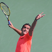 Nicolas Almagro, Spain,  in action against Jack Sock, USA,  during the US Open Tennis Tournament, Flushing, New York. USA. 1st September 2012. Photo Tim Clayton