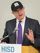 Houston ISD superintendent Dr. Terry Grier comments during a press conference for the Hour of Code at Kolter Elementary School, December 10, 2014.