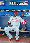 ATLANTA - JUNE 30:  First baseman Ryan Howard #6 of the Philadelphia Phillies rests in the dugout before the game against the Atlanta Braves at Turner Field on June 30, 2009 in Atlanta, Georgia.  The Braves beat the Phillies 5-4 in 10 innings.  (Photo by Mike Zarrilli/Getty Images)
