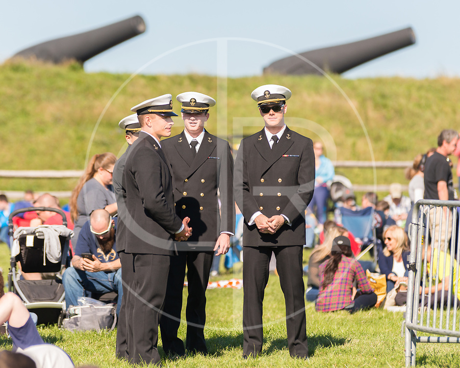Naval Academy Midshipmen attend the Blue Angels airshow during Fleet Week at Fort McHenry in Baltimore, MD
