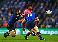 Rugby Union - 2017 / 2018 European Rugby Champions Cup - Pool Three: Leinster vs. Exeter Chiefs<br /> <br /> Exeter's Henry Slade is tackled by Leinster's Garry Ringrose and Robbie Henshaw, at Aviva Stadium, Dublin.<br /> <br /> COLORSPORT/KEN SUTTON