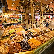 La Boqueria market stalls, Barcelona, Spain