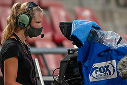 "Foxsport camera woman with mouth mask. FC Utrecht convincingly won the practice match against sc Heerenveen. The ""Domstedelingen"" were too strong for SC Heerenveen in Stadium Galgenwaard with 4-1<br /> on August 20, 2020 in Utrecht, Netherlands"