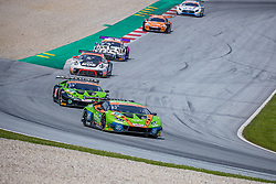 09.06.2019, Red Bull Ring, Spielberg, AUT, ADAC GT Masters Spielberg, Rennen, im Bild v.l.: Rolf Ineichen (SUI)/Franck Perera (FRA) Lamborghini Huracán GT3, Michele Beretta (ITA)/Marco Mapelli (ITA) Lamborghini Huracán GT3 // f.l.: Swiss ADAC GT Masters driver Rolf Ineichen/French ADAC GT Masters driver Franck Perera Lamborghini Huracán GT3 Italian ADAC GT Masters driver Michele Beretta/Italian ADAC GT Masters driver Marco Mapelli Lamborghini Huracán GT3 during the Race for the ADAC GT Masters at the Red Bull Ring in Spielberg, Austria on 2019/06/09. EXPA Pictures © 2019, PhotoCredit: EXPA/ Dominik Angerer