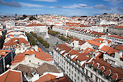 Praça D. Pedro IV, known as Rossio square and part of the Baixa district, seen from the walkway at the top of Elevador de Sta. Justa, in central Lisbon.
