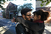 "Roscoe and his partner having a moment before arriving to Preston Crown Court,September 25th, Preston, Lancashire, United Kingdom. Simon Roscoe Blevins was sentenced to 16 months in prison for his part in the Frack Free Four truck surfer trial at Preston Crown Court Sept 26 2018. Simon Roscoe Blevins, 26,  Richard Loizou, 31, Richard Roberts, 36 and Julian Brock, 47 climbed on top of several trucks during a mass protest by locals and supporters in New Preston Road, against fracking in Lancashire, July 2017. The trucks were prevented form delivering equipment to Cuadrillas nearby fracking site for four days. After a seven day jury trial at Preston Crown Court in August 2018, the four men were found guilty of Public Nuisance. Judge Altham has told them to expect ""immediate custodial sentences"" on 25th September 2018."