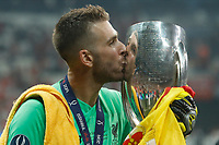 ISTANBUL, TURKEY - AUGUST 14: Adrian of Liverpool celebrates with the trophy during the UEFA Super Cup match between Liverpool and Chelsea at Vodafone Park on August 14, 2019 in Istanbul, Turkey. (Photo by MB Media/Getty Images)