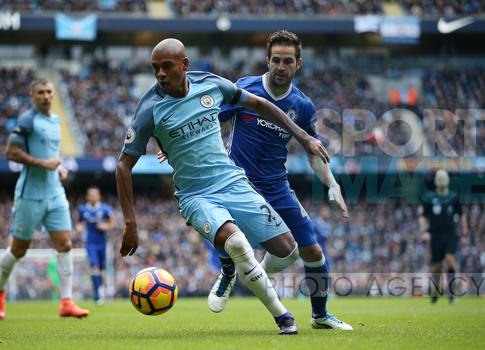 Fernandinho of Manchester City and Cesc Fabregas of Chelsea during the Premier League match at the Etihad Stadium, Manchester. Picture date: December 3rd, 2016. Pic Simon Bellis/Sportimage