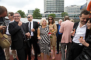 GUESTS INCLUDING MARK HIX ON RIGHT, Marriage of Tim Nobkle and Sue Webster conducted by Tracey Emin. Queen Elizabeth. Thames. London. 7 June 2008 *** Local Caption *** -DO NOT ARCHIVE-© Copyright Photograph by Dafydd Jones. 248 Clapham Rd. London SW9 0PZ. Tel 0207 820 0771. www.dafjones.com.