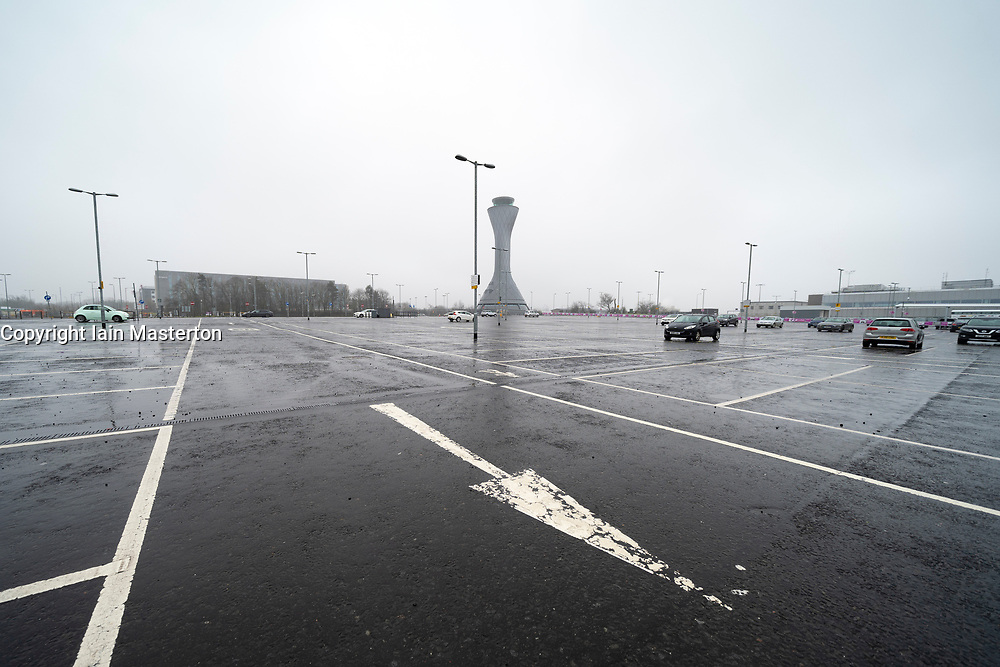 Edinburgh, Scotland, UK. 27 March, 2020. Views of a deserted Edinburgh Airport during the coronavirus pandemic. With very few flights during the current Covid-19 crisis passengers are scarce in the terminal building. Surface carpark is almost deserted. Iain Masterton/Alamy Live News