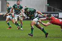 Rugby Union - 2020 / 2021 Guinness PRO14 - Round 12 - Scarlets vs Benetton - Parc-y-Scarlets<br /> <br /> Manuel Zuliani of Benetton almost loses his shorts as he is grabbed from behind<br /> <br /> COLORSPORT/WINSTON BYNORTH