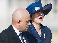 © Licensed to London News Pictures. 23/10/2018. London, UK. British Home Secretary SAJID JAVID and British Prime Minister THERESA MAY are seen attending a ceremony on Horse Guards Parade in London for the arrival of King Willem-Alexander and Queen Maxima of the Netherlands as part of a state visit to the UK. Photo credit: Ben Cawthra/LNP