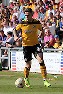 Newport's Miles Storey charges forward. Skybet football league two match , Newport county v Dagenham & Redbridge at Rodney Parade in Newport, South Wales on Saturday 18th April 2015.<br /> pic by David Richards, Andrew Orchard sports photography.