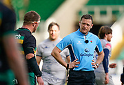 Northampton Saints prop Alex Waller talks with referee Matthew Carley during a Gallagher Premiership Round 13 Rugby Union match, Saturday, Mar. 12, 2021, in Northampton, United Kingdom. (Steve Flynn/Image of Sport)