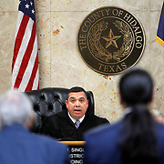 District Judge Luis Singleterry instructs Feit of what will happen to him after the jury handed down a life sentence at the closing of his trial. In Michael Garza's closing he asked the jury to sentence Feit to a symbolic 57 years, one for each year Irene has been deceased, but the jury came back with a stricter life sentence for the 85-year-old Feit. Nathan Lambrecht/The Monitor