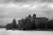"""Hammersmith. London. United Kingdom,  Competitors pass by  """"Harrods Depository/Village"""". William Hunt Mansions. 2018 Men's Head of the River Race.  location Barnes Bridge, Championship Course, Putney to Mortlake. River Thames, <br /> <br /> Sunday   11/03/2018<br /> <br /> [Mandatory Credit:Peter SPURRIER Intersport Images]<br /> <br /> Leica Camera AG  M9 Digital Camera  1/750 sec. 50 mm f.9.5 160 ISO.  5.5MB"""