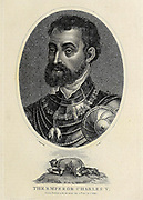 Charles V (24 February 1500 – 21 September 1558) was Holy Roman Emperor and Archduke of Austria from 1519 to 1556, King of Spain (Castile and Aragon) from 1516 to 1556, and Lord of the Netherlands as titular Duke of Burgundy from 1506 to 1555. As he was head of the rising House of Habsburg during the first half of the 16th century, his dominions in Europe included the Holy Roman Empire, extending from Germany to northern Italy with direct rule over the Austrian hereditary lands and the Burgundian Low Countries, and a unified Spain with its southern Italian kingdoms of Naples, Sicily, and Sardinia. Copperplate engraving From the Encyclopaedia Londinensis or, Universal dictionary of arts, sciences, and literature; Volume VIII;  Edited by Wilkes, John. Published in London in 1810.