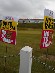 Pictured: protest sagainst US Presidential candidate Donald Trump as he arrives in Scotland to open his multi-million pound redevelopment of his Turnberry hotel and golf resort.<br /> <br /> <br /> © Dave Johnston/ EEm