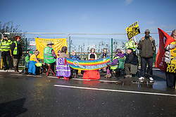 © Licensed to London News Pictures. 29/09/2017. Lancashire, UK.  A group of Quakers protest against fracking outside Cuadrillas Hydraulic Fracturing site on Preston New Road, Lancashire. Over 100 protesters from all over the UK joined the on going anti-fracking protest on Preston New Road in Lancashire ahead of the Conservative Party Conference in Manchester. Photo credit: Steven Speed/LNP