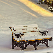 This bench is at the Loyola Jesuit Center inMorristown, NJ.  I was shooting at first light and was taken by the shapes, colors and textures of this scene.  In tis image I have toned down the details and contrast to create a softer feel.
