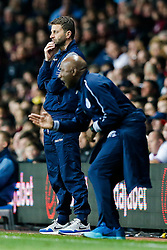 Aston Villa Manager Tim Sherwood looks on as QPR Manager Chris Ramsey gestures - Photo mandatory by-line: Rogan Thomson/JMP - 07966 386802 - 07/04/2015 - SPORT - FOOTBALL - Birmingham, England - Villa Park - Aston Villa v Queens Park Rangers - Barclays Premier League.