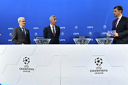 NYON, SWITZERLAND - Friday, July 10, 2020: L-R UEFA Deputy General Secretary Giorgio Marchetti, former Juventus and Borussia Dortmund player Paulo Sousa and presenter Pedro Pintor during the UEFA Champions League and UEFA Europa League 2019/20 draws for the Quarter-final, Semi-final and Final at the UEFA headquarters, The House of European Football. (Photo Handout/UEFA)