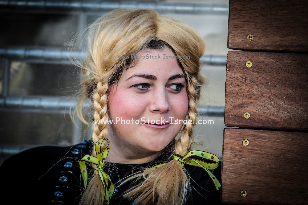 Orthodox teen in Purim costume Photographed in Bnei Brak, Israel