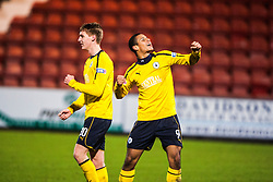 Falkirk's Jay Fulton and Falkirk's Lyle Taylor cele to fans at the ned of the game.Dunfermline 0 v 1 Falkirk, 26/12/2012..©Michael Schofield.