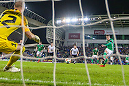 Northern Ireland midfielder Steven Davis scores a goal from the penalty spot 2-0 during the UEFA European 2020 Qualifier match between Northern Ireland and Estonia at National Football Stadium, Windsor Park, Northern Ireland on 21 March 2019.