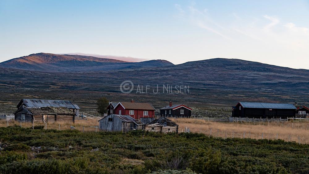 The settlement Nysetra at Fokstumyra, a nature reserve at Dovrefjell (Dombås, Innlandet, Norway).