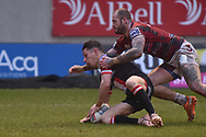 Morgan Escare (1) of Salford Red Devils scores a try making it 16-6