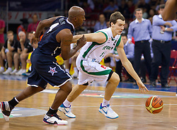 Chauncey Billups of USA vs Goran Dragic of Slovenia during to the Preliminary Round - Group B basketball match between National teams of USA and Slovenia at 2010 FIBA World Championships on August 29, 2010 at Abdi Ipekci Arena in Istanbul, Turkey.  (Photo by Vid Ponikvar / Sportida)