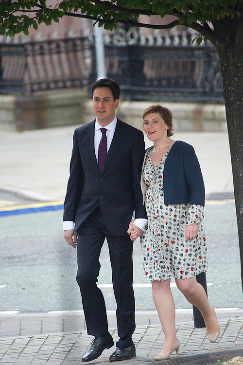 Ed Miliband and partner Justine Thornton arrive for his leader's speech to delgates during the Labour Party Conference in Manchester on 28 September 2010.