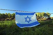 Flaga narodowa Izraela i obecny stan komory gazowej i Krematorium III, Auschwitz II-Birkenau<br /> National flag of Israeli and present state of gas chamber and Crematory III, Auschwitz II-Birkenau, Poland