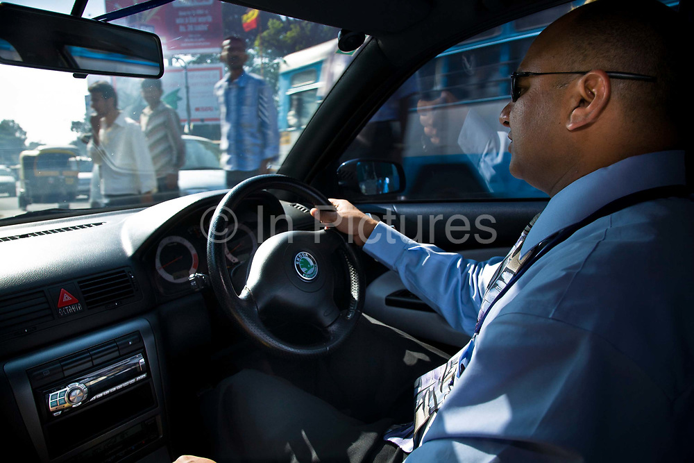 Bejoy George, and IT consultant heads to work during Bangalore's rush hour, India
