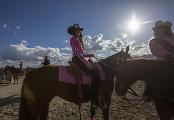 May 25, 2019 - Eagle Mountain, Utah - A rodeo queen has the word ''tough'' printed on her sleeve at the Pony Express Rodeo Saturday, May 25, 2019 at Eagle Mountain, Utah. (Credit Image: © Natalie Behring/ZUMA Wire)