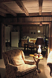 07 October 2013: Creekside Cabin - a cabin built with timbers from an 1860's cabin.  The cabin was rebuilt in 1988.  Two bathrooms, 2 bedrooms + a bunkhouse bedroom, kitchen, living area, gas burning stove and a hot tub are included in the accommodations.  The site is semi-secluded.