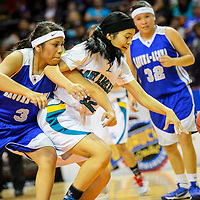 031114  Adron Gardner/Independent<br /> <br /> Laguna Acoma Hawk Roxy Kie (3, left, tangles with Navajo Prep Eagle RaineeSommer Yazzie (42) during the state high school basketball tournament at the Santa Ana Star Center in Rio Rancho.