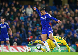 LONDON, ENGLAND - Wednesday, December 10, 2014: Chelsea's substitute Ruben Loftus-Cheek, making his debut, in action against Sporting Clube de Portugal's Adrien Silva during the final UEFA Champions League Group G match at Stamford Bridge. (Pic by David Rawcliffe/Propaganda)