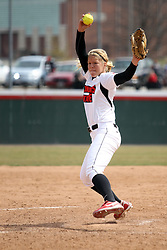 06 April 2013:  Taylor Baxter pitches during an NCAA Division 1 Missouri Valley Conference (MVC) women's softball game between the Drake Bulldogs and the Illinois State Redbirds on Marian Kneer Field in Normal IL