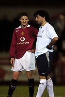 Photo: Jed Wee.<br /> Manchester United Reserves v Bolton Wanderers Reserves.<br /> 15/12/2005.<br /> <br /> Manchester United's Ole Gunnar Solskjaer (L) with Bolton's Ivan Campo.