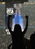 Hillsborough, Tampa, Fl. 10/5/2005--BOLTS BANNER--Fans cheer as Tampa Bay Lightning score in the first period after the Stanley Cup Championship banner was raised during the opening night of hockey at the St. Pete Times Forum.  PHOTOS 5 OF IMAGES STAFF MICHAEL SPOONEYBARGER